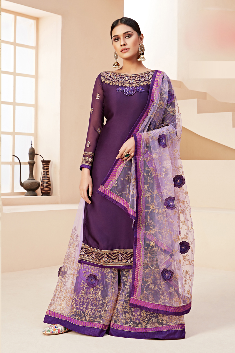 Dark Purple Color Satin Georgette Fabric Function Wear Embroidered Sharara Style Palazzo Suit