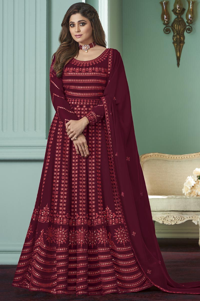 Shamita Shetty Maroon Color Party Style Embroidered Georgette Fabric Anarkali Salwar Suit