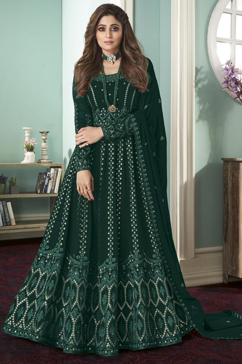 Shamita Shetty Dark Green Color Party Style Embroidered Georgette Fabric Anarkali Salwar Kameez