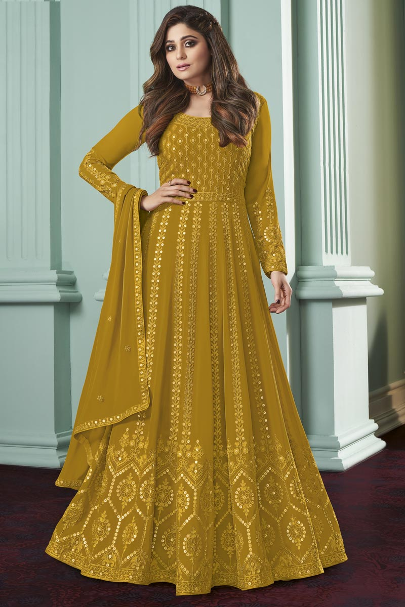 Shamita Shetty Georgette Fabric Party Style Embroidered Anarkali Salwar Suit In Yellow Color