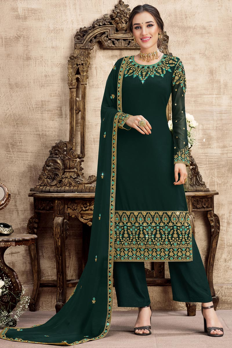 Dark Green Color Function Wear Embroidered Georgette Fabric Palazzo Suit