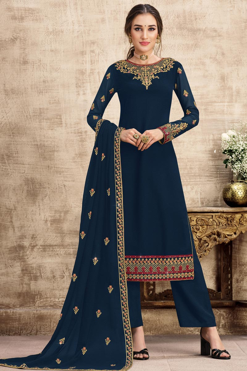 Georgette Fabric Party Wear Navy Blue Color Embroidered Palazzo Suit