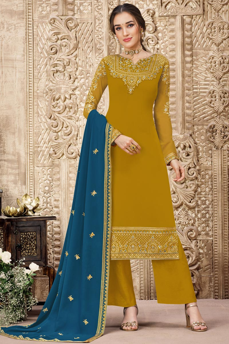 Mustard Color Georgette Fabric Function Wear Embroidered Palazzo Suit
