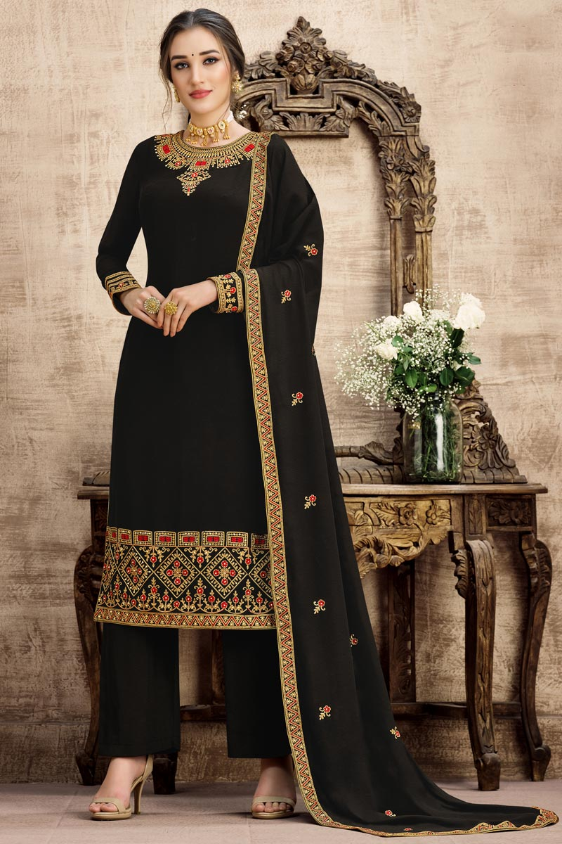 Georgette Fabric Festive Wear Embroidered Palazzo Suit In Black Color