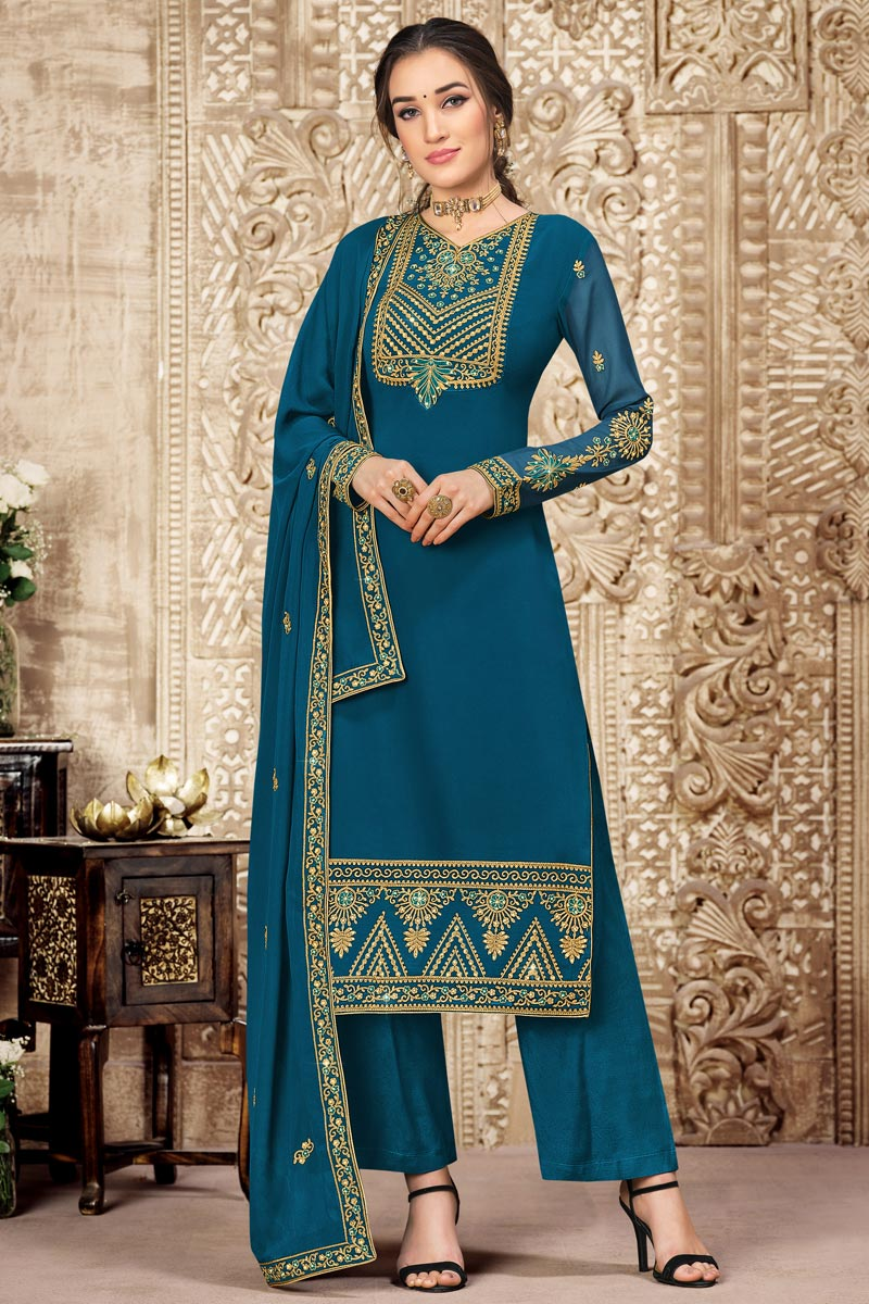 Georgette Fabric Teal Color Embroidered Party Wear Palazzo Suit