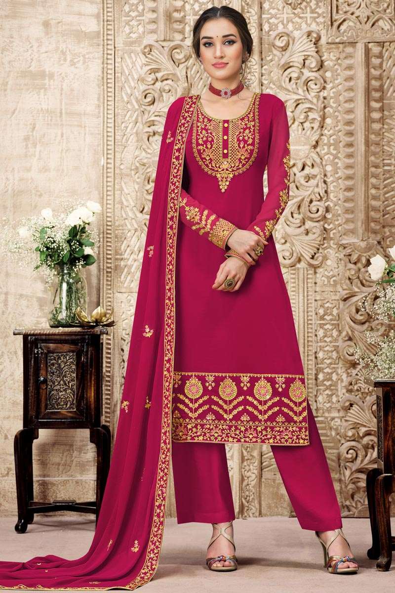Rani Color Georgette Fabric Fancy Embroidered Function Wear Palazzo Suit