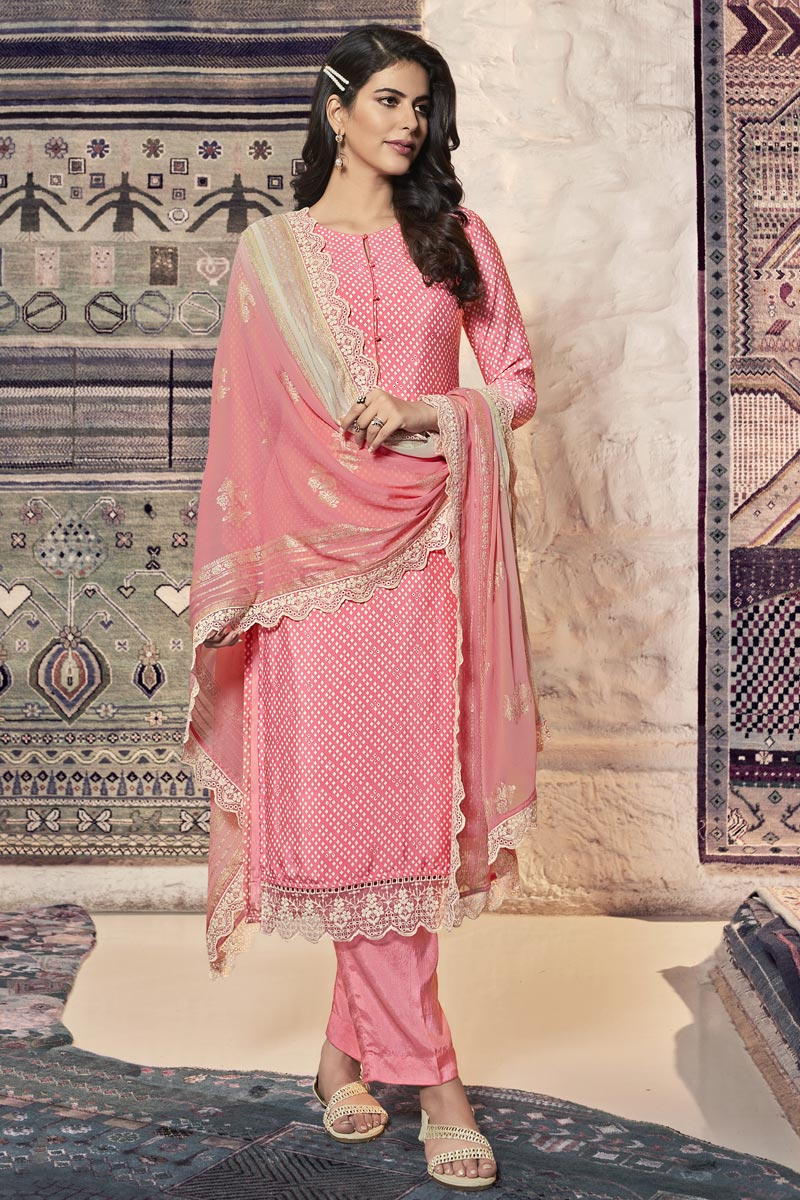 Festive Wear Pink Color Crepe Fabric Printed Straight Cut Suit