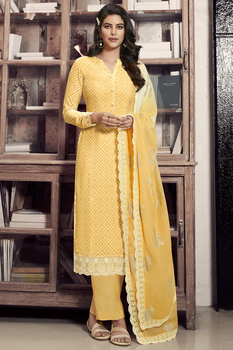 Crepe Fabric Festive Wear Chic Printed Straight Cut Dress In Yellow Color
