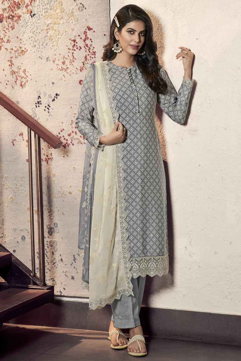 Festive Wear Grey Color Chic Printed Straight Cut Dress In Crepe Fabric