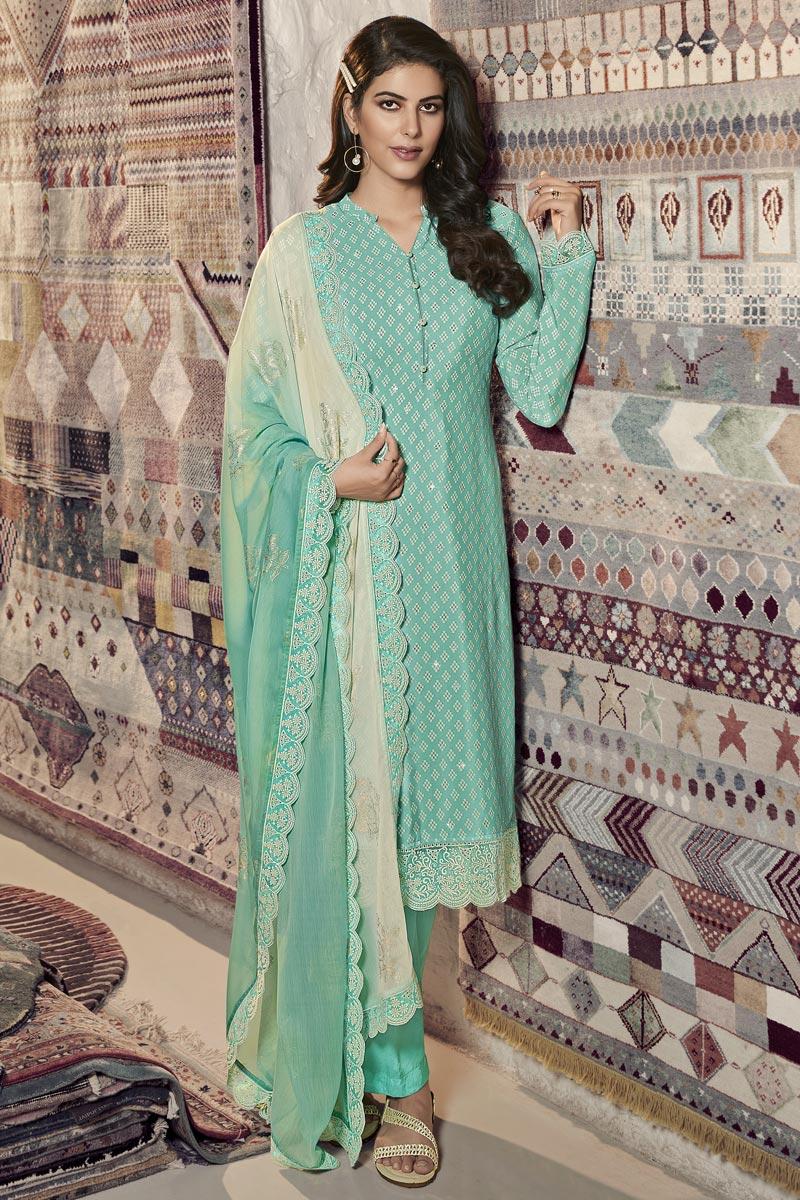 Cyan Color Festive Wear Printed Straight Cut Dress In Crepe Fabric