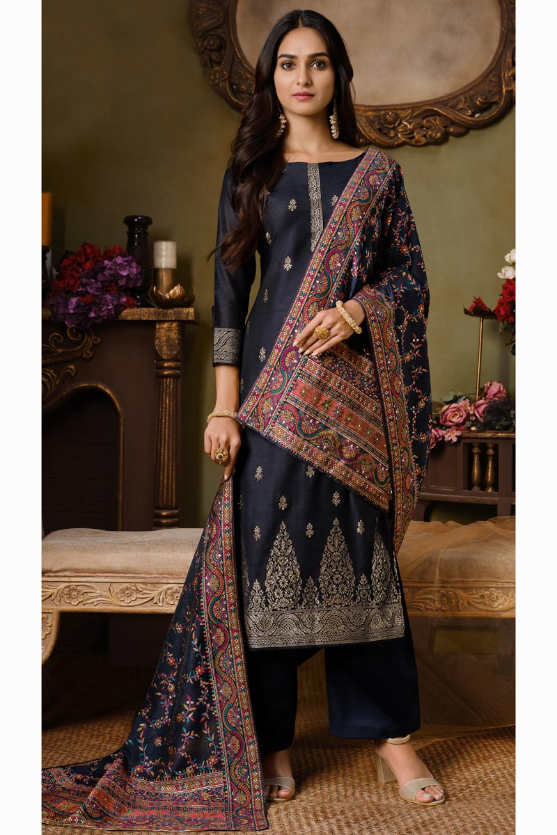 Navy Blue Color Party Style Weaving Work Art Silk Fabric Palazzo Suit