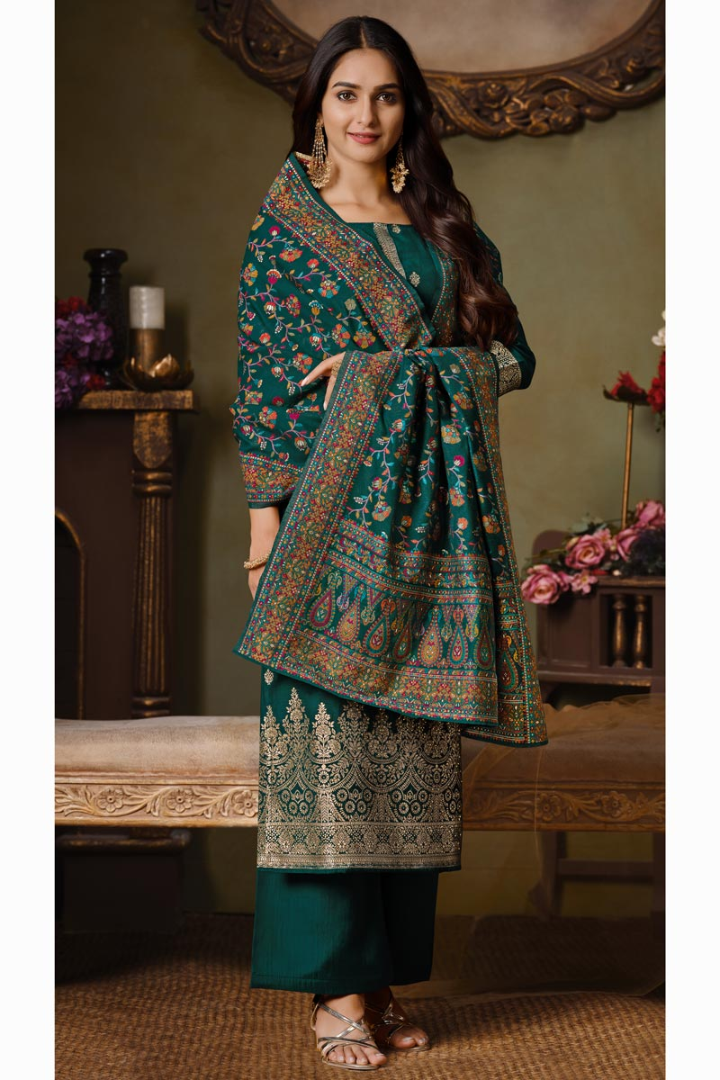 Art Silk Fabric Party Style Teal Color Weaving Work Palazzo Suit