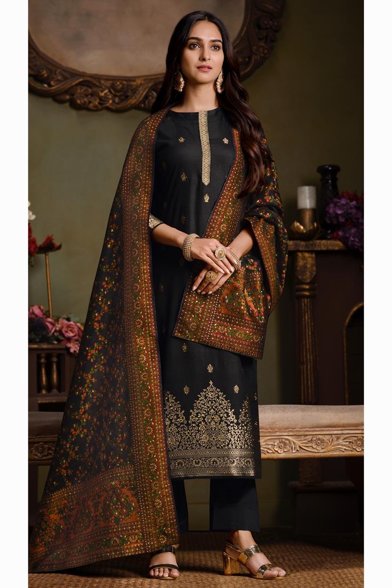 Black Color Art Silk Fabric Party Style Weaving Work Salwar Kameez