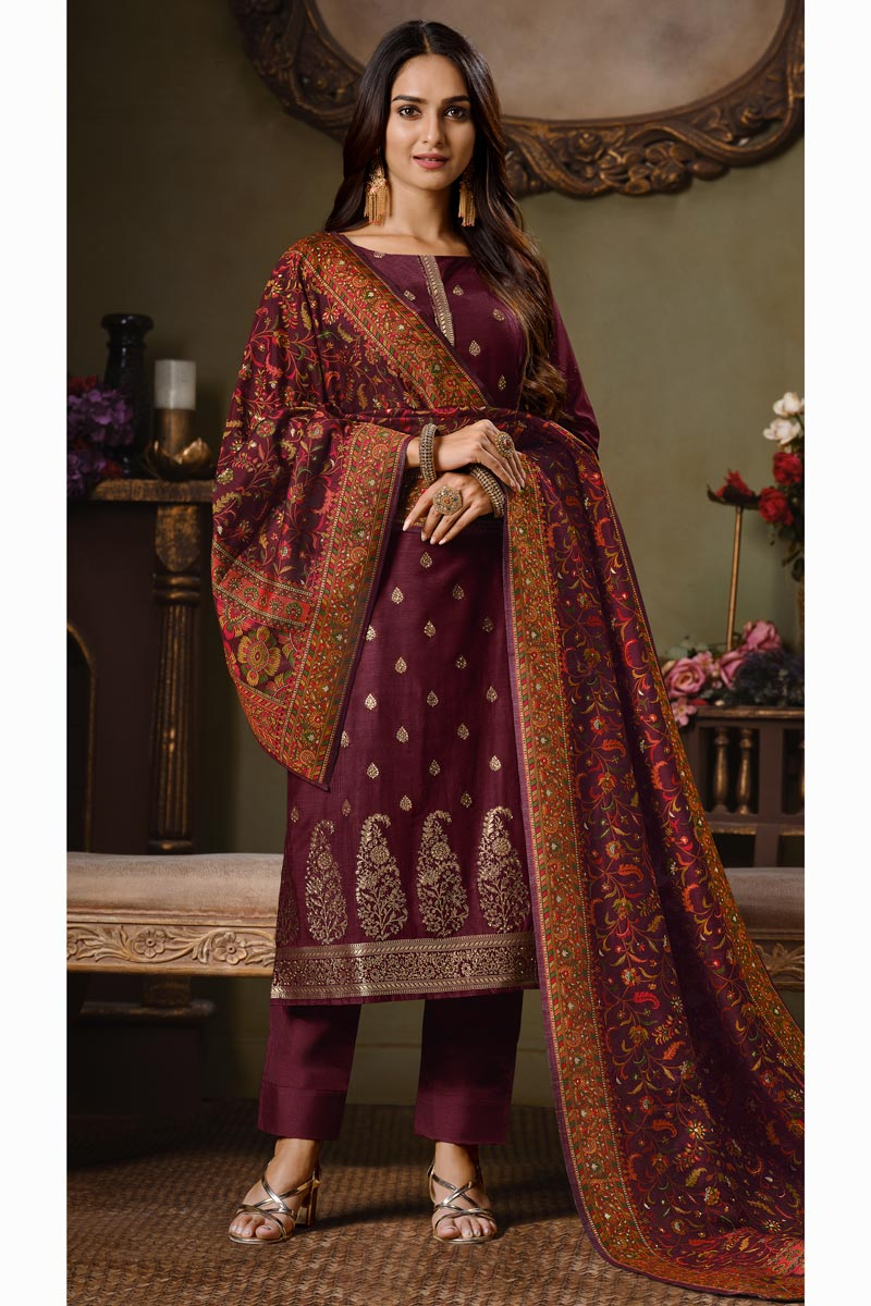 Art Silk Fabric Party Style Weaving Work Salwar Suit In Maroon Color
