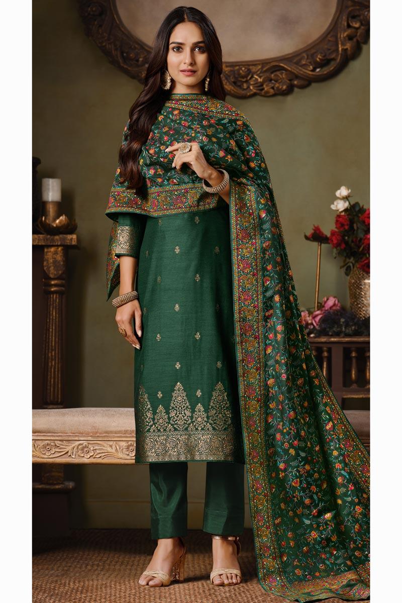 Party Style Art Silk Fabric Dark Green Color Weaving Work Salwar Suit