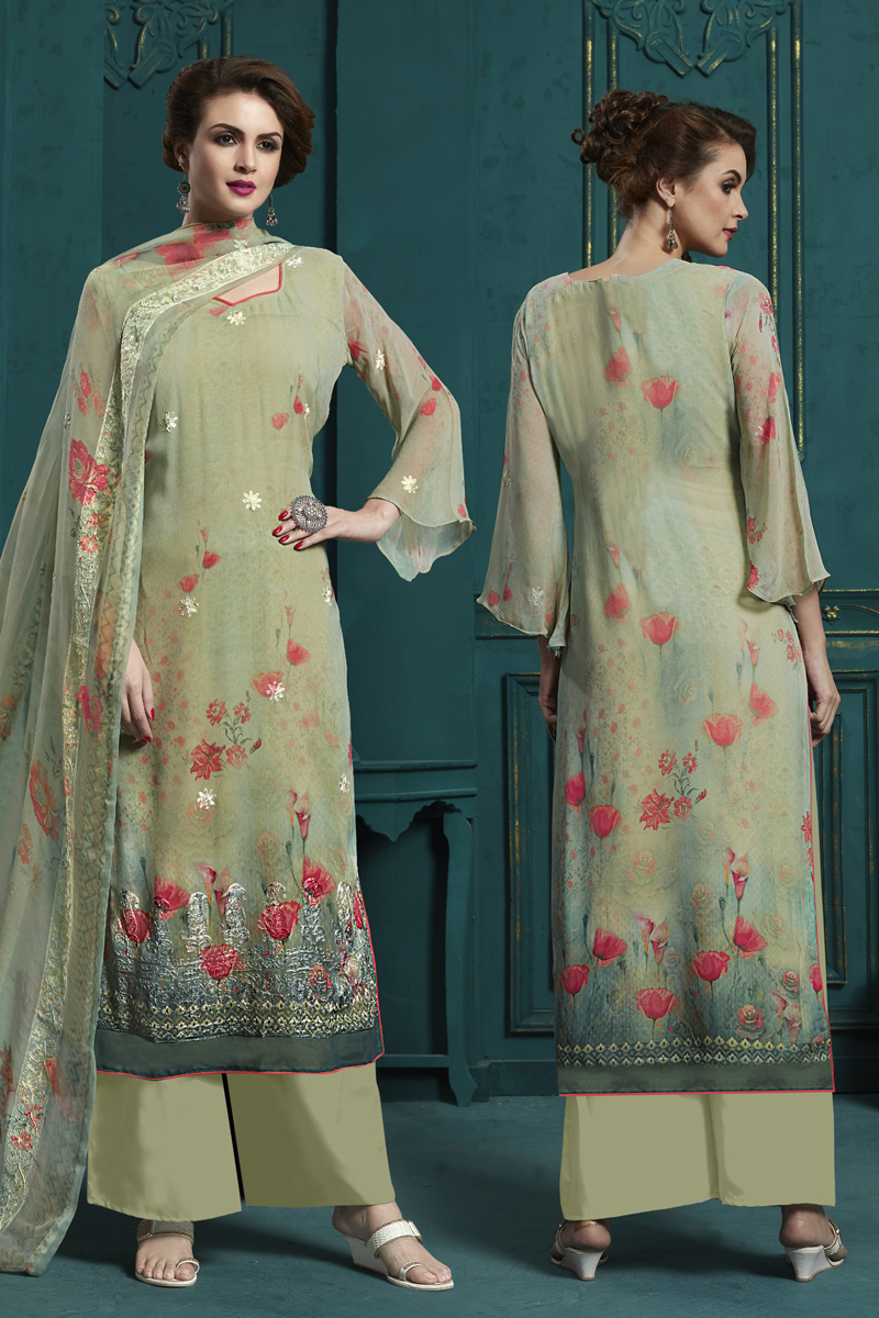 Khaki Color Embroidered Palazzo Salwar Kameez