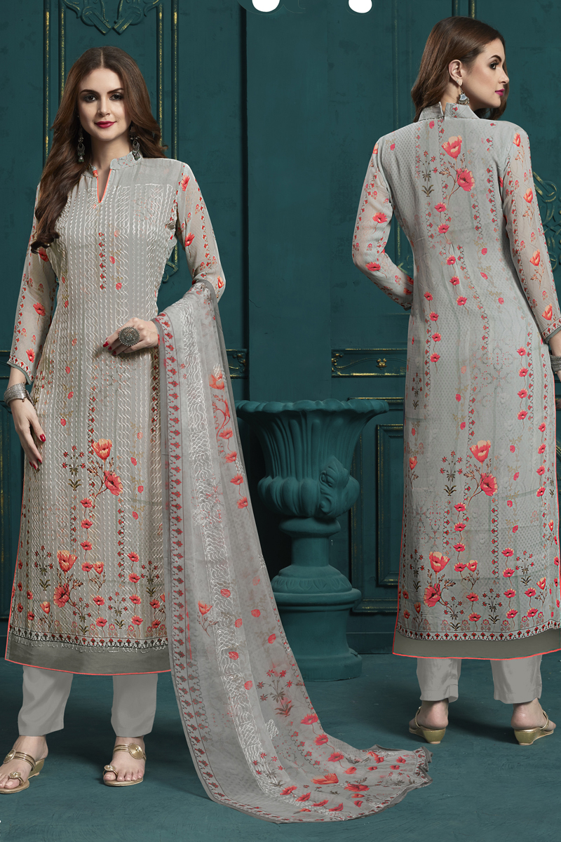Grey Color Georgette Fabric Function Wear Embroidered Suit