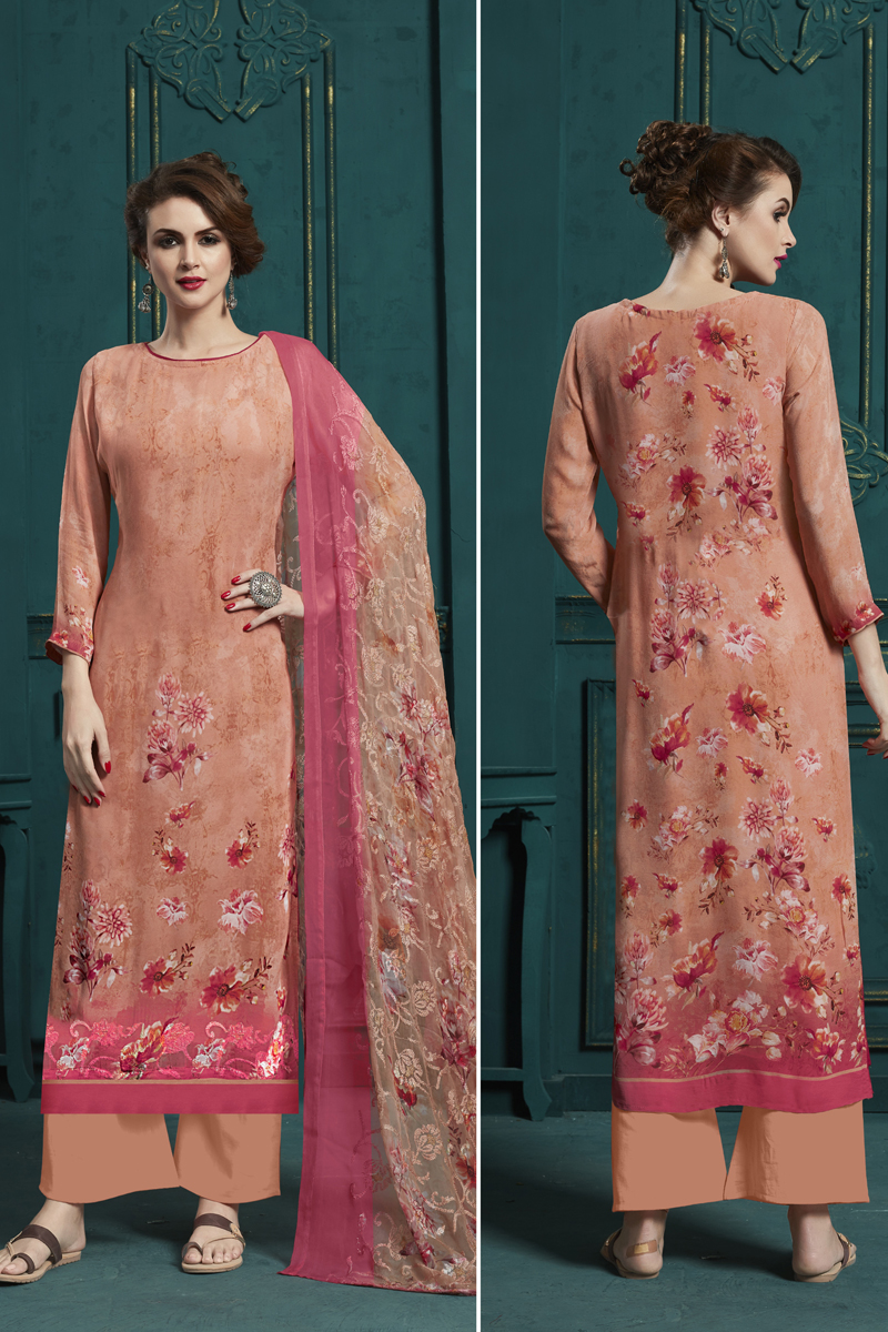 Occasion Wear Salmon Color Embroidered Palazzo Salwar Kameez
