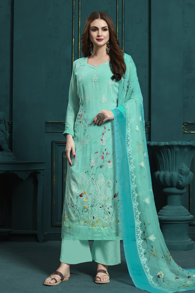 Embroidery Work Sea Green Color Georgette Fabric Palazzo Salwar Suit