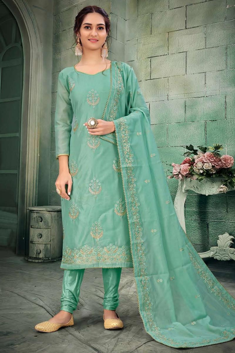 Light Cyan Color Embroidered Salwar Kameez In Chanderi Fabric