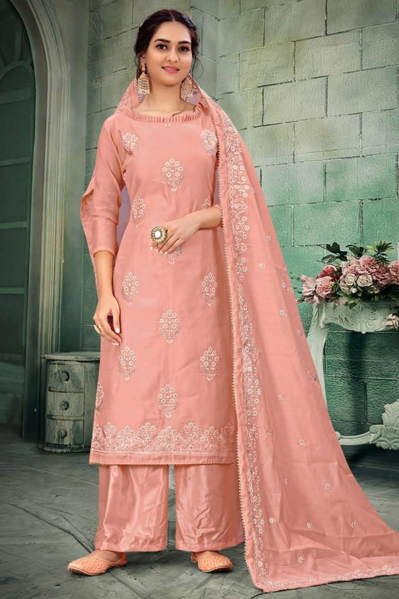 Pink Color Chanderi Fabric Function Wear Embroidered Palazzo Suit