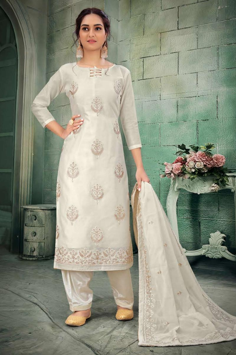 Occasion Wear Off White Color Embroidered Salwar Kameez In Chanderi Fabric