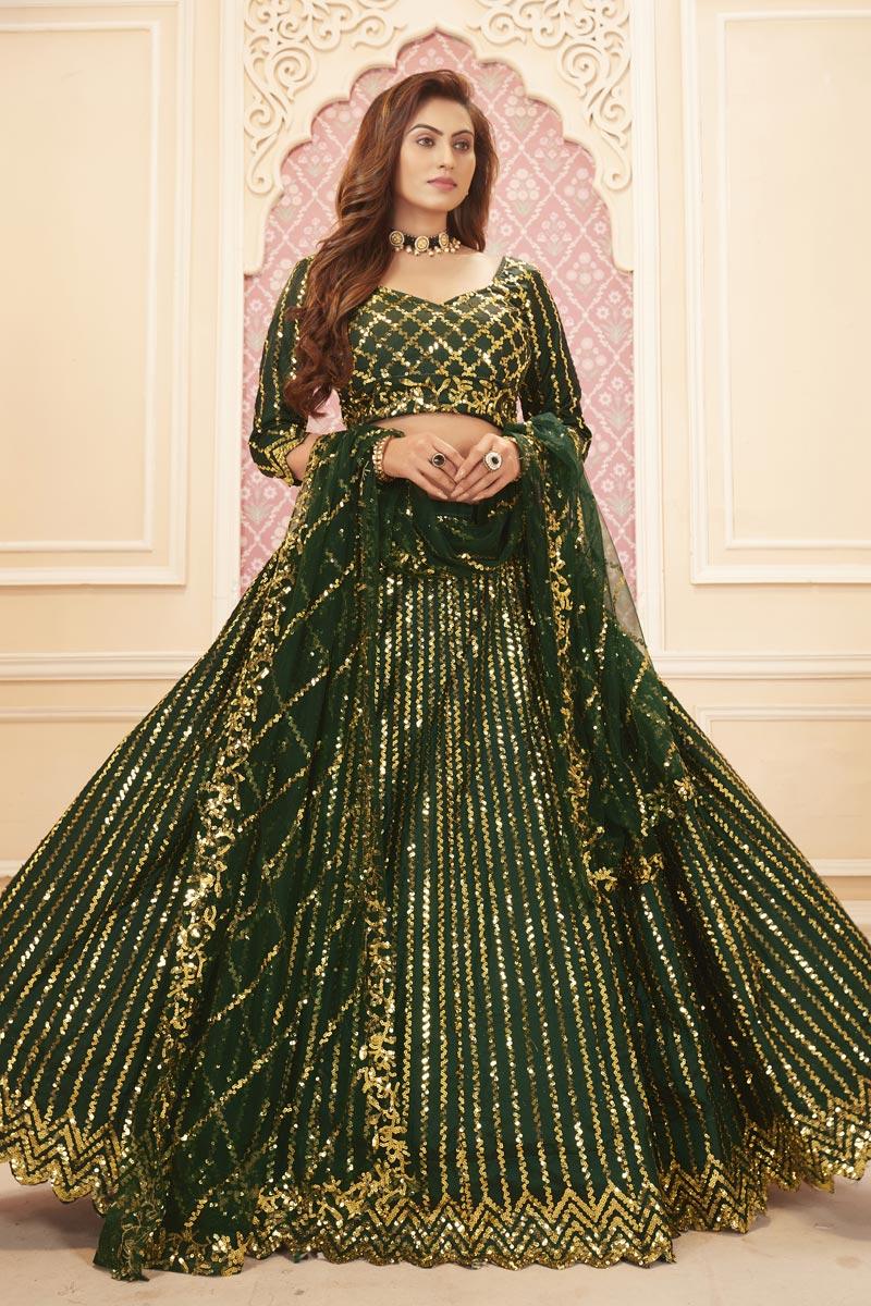 Satin Silk Fabric Function Wear Dark Green Color Sequins Work Lehenga