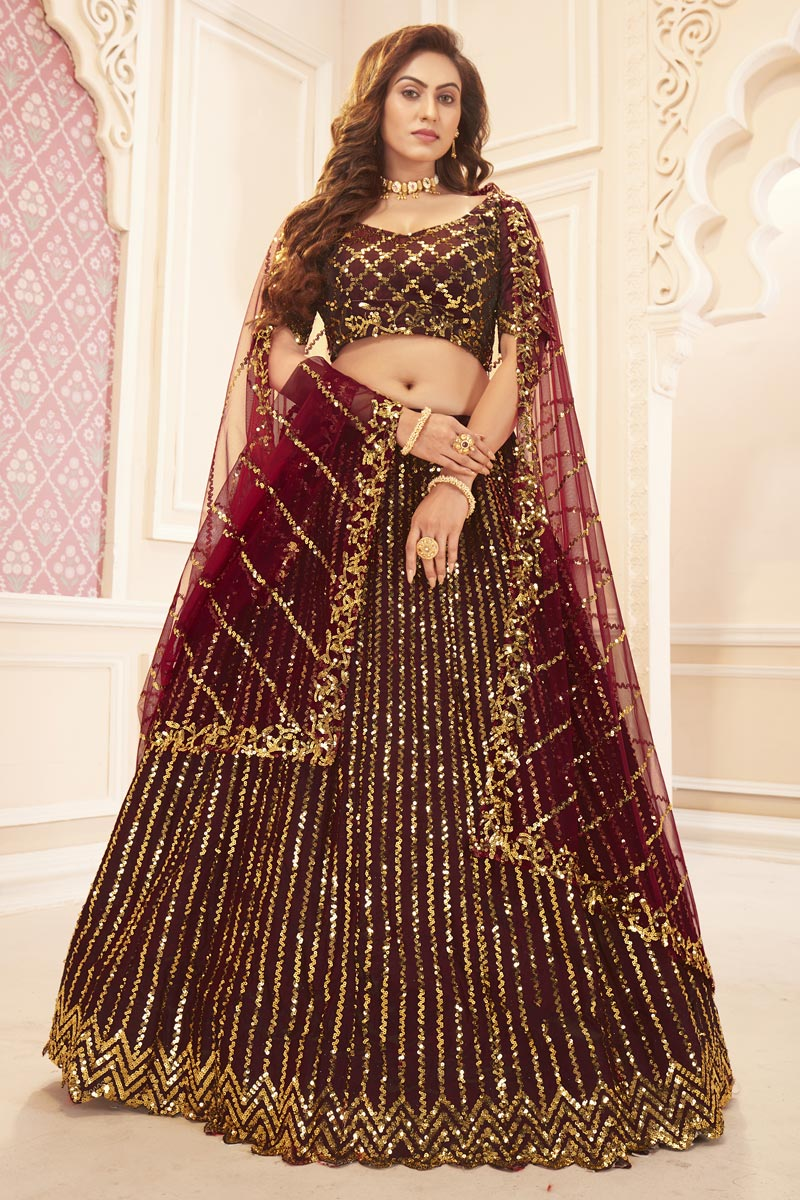 Function Wear Maroon Color Sequins Work Satin Silk Fabric Lehenga Choli