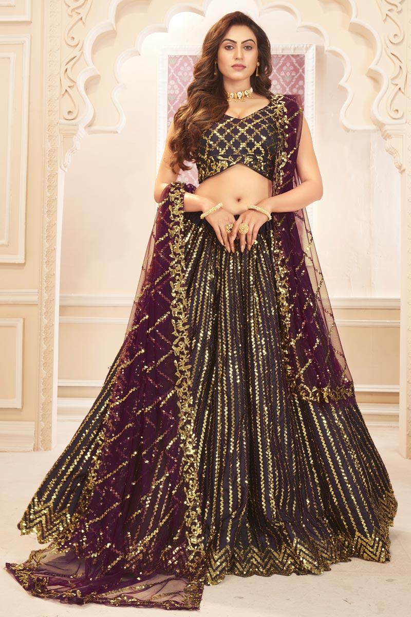 Wine Color Function Wear Sequins Work Satin Silk Fabric Lehenga