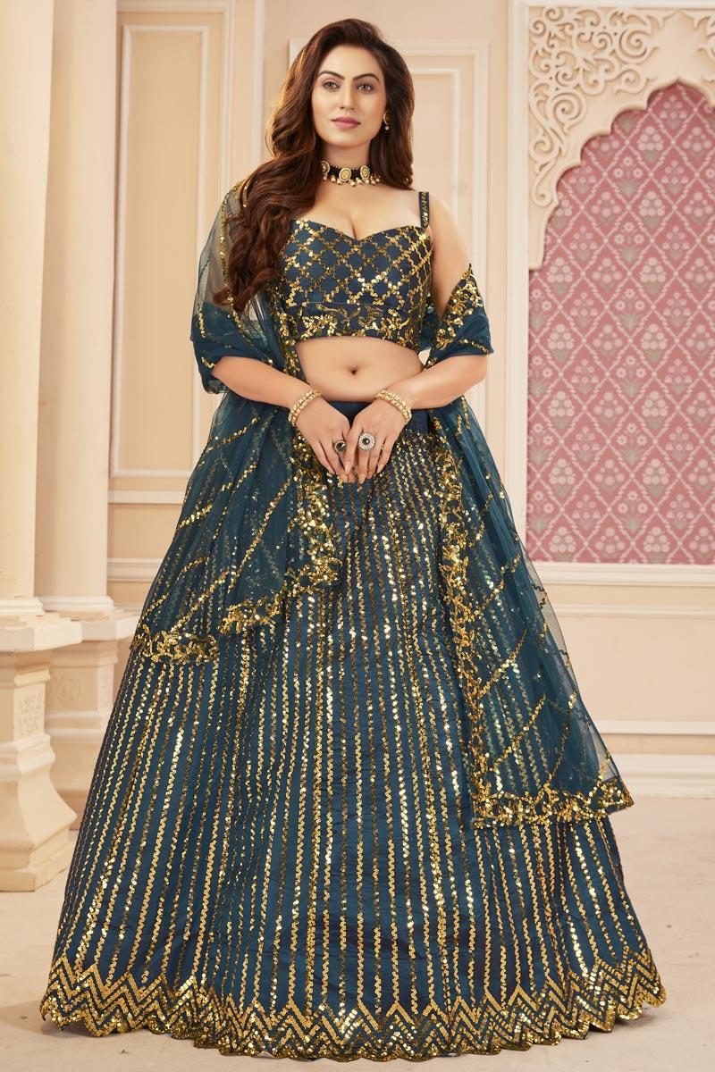 Function Wear Satin Silk Fabric Teal Color Sequins Work Lehenga Choli