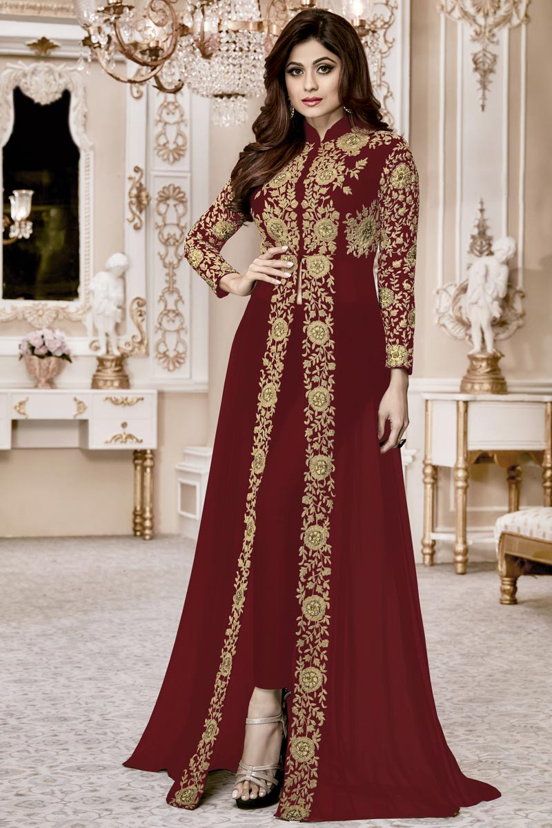 Shamita Shetty Function Wear Georgette Designer Maroon Anarkali Dress With Front Silt