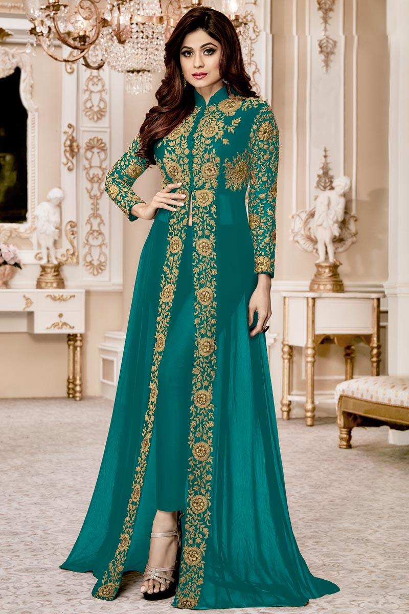 Shamita Shetty Cyan Function Wear Georgette Anarkali Suit With Front Silt