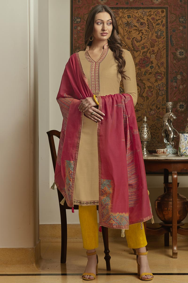 Traditional Wear Classic Beige Color Embroidered Straight Cut Suit In Cotton Fabric