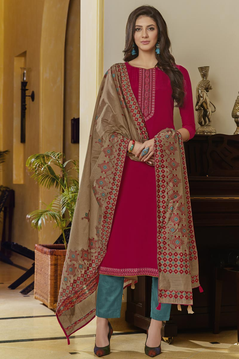 Classic Rani Color Traditional Wear Embroidered Cotton Fabric Straight Cut Dress