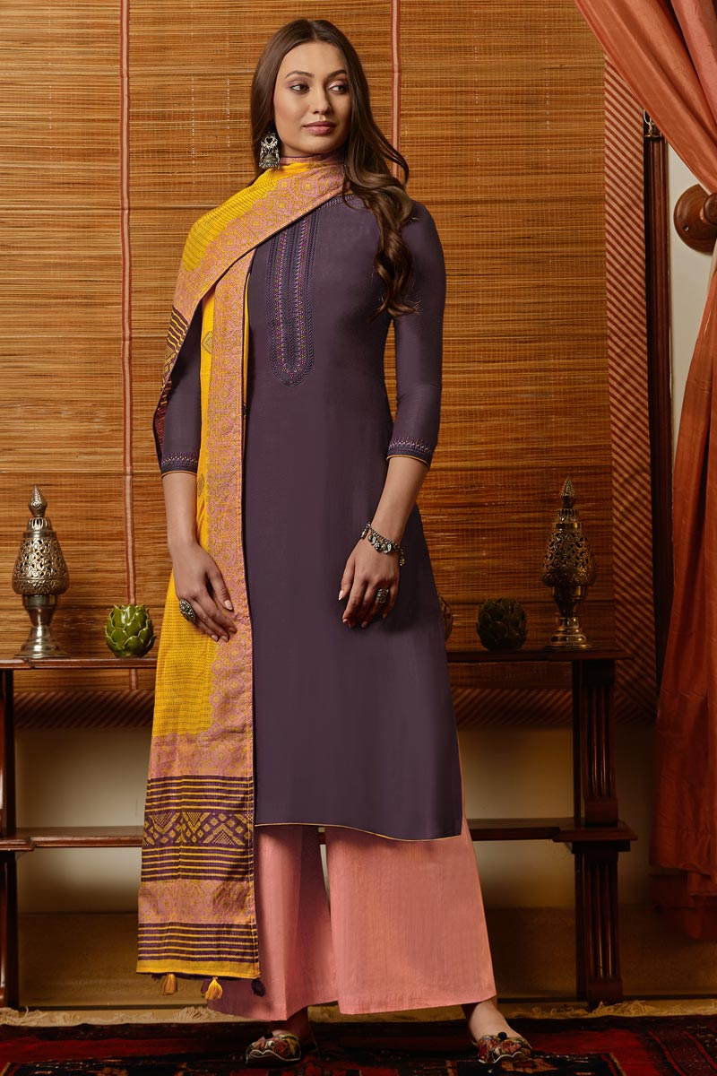 Purple Color Traditional Wear Classic Embroidered Straight Cut Suit In Cotton Fabric