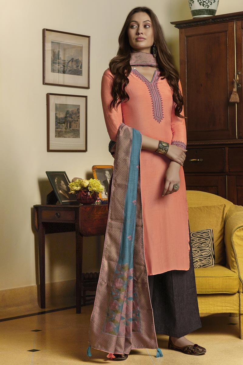 Classic Cotton Fabric Traditional Wear Embroidered Straight Cut Suit In Peach Color