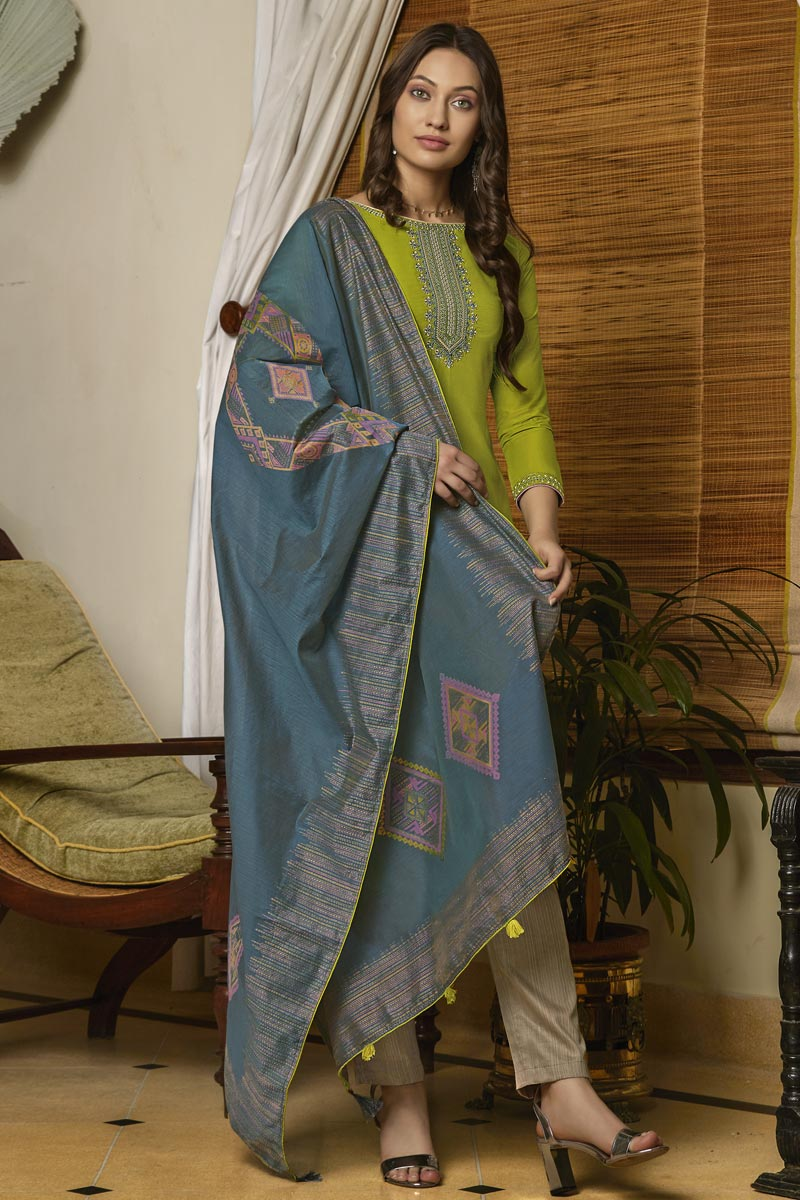 Traditional Wear Classic Cotton Fabric Embroidered Straight Cut Suit In Green Color