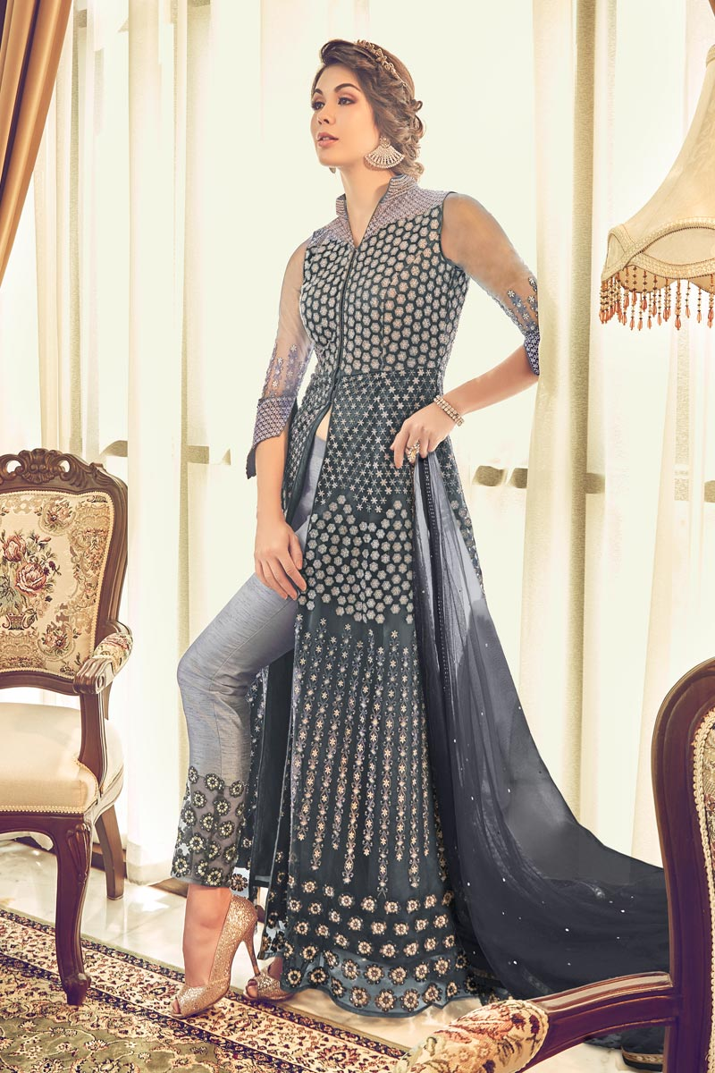 Eid Special Embroidered Grey Color Net Fabric Function Wear Anarkali Suit