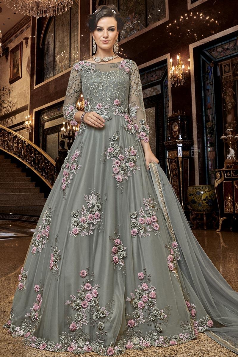 Grey Color Function Wear Designer Embroidered Long Length Anarkali Dress In Net Fabric