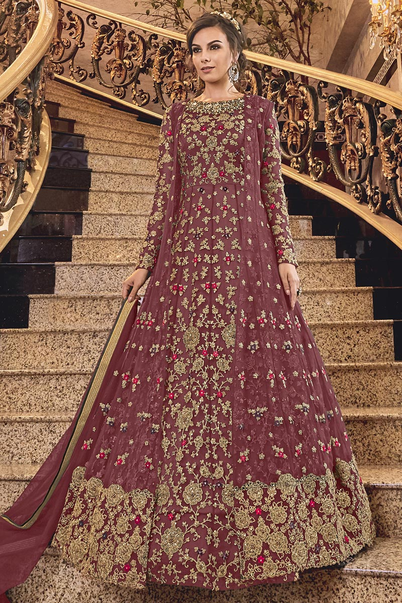 Elegant Net Fabric Sangeet Wear Embroidered Pink Color Floor Length Anarkali Suit
