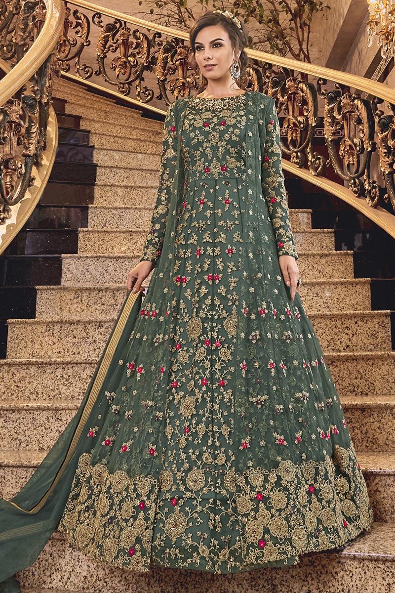 Elegant Sangeet Wear Mehendi Green Color Net Fabric Embroidered Floor Length Anarkali Suit