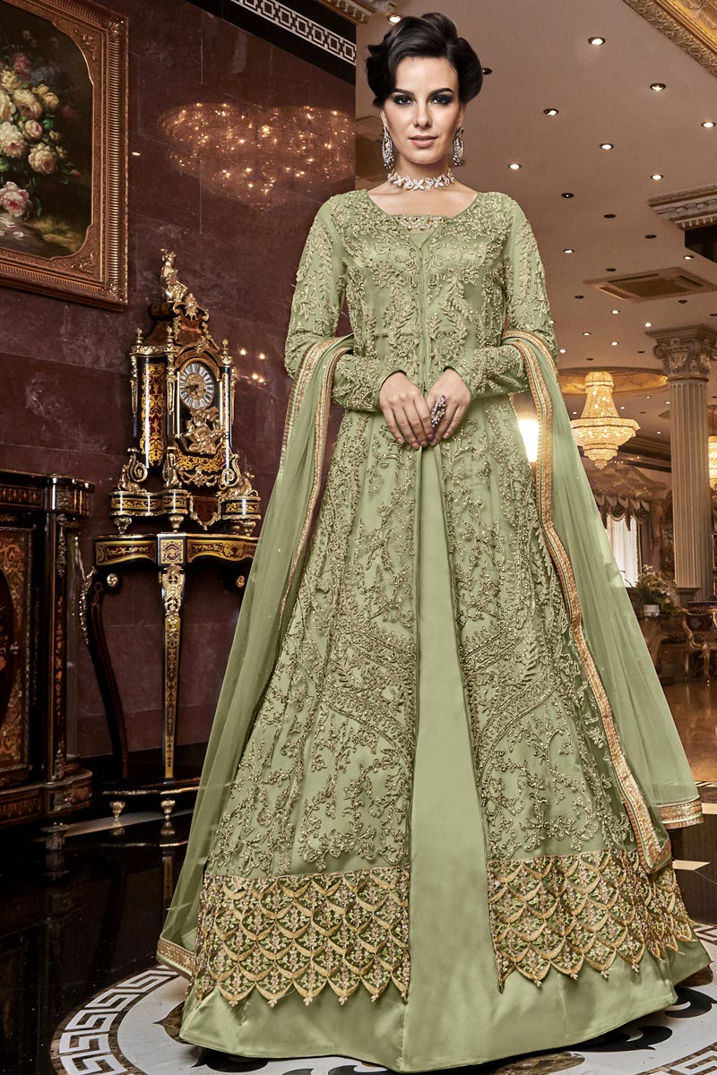 Elegant Net Fabric Wedding Function Wear Embroidered Sea Green Color Anarkali Suit