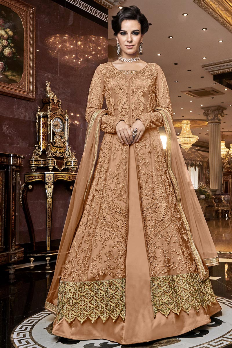 Wedding Function Wear Net Fabric Elegant Embroidered Anarkali Dress In Peach Color