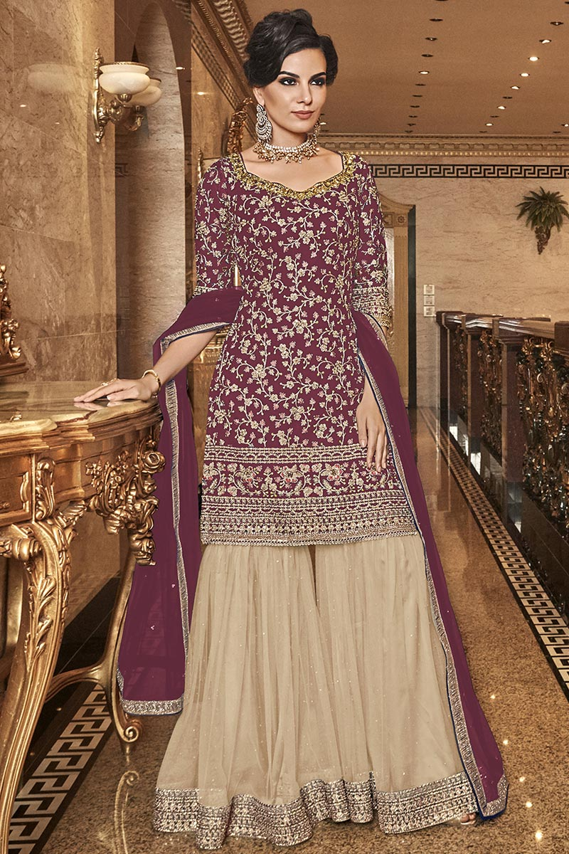Elegant Net Fabric Party Wear Embroidered Wine Color Palazzo Suit
