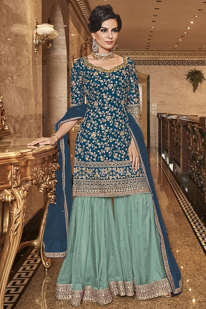 Net Fabric Party Wear Elegant Embroidered Palazzo Dress In Teal Color