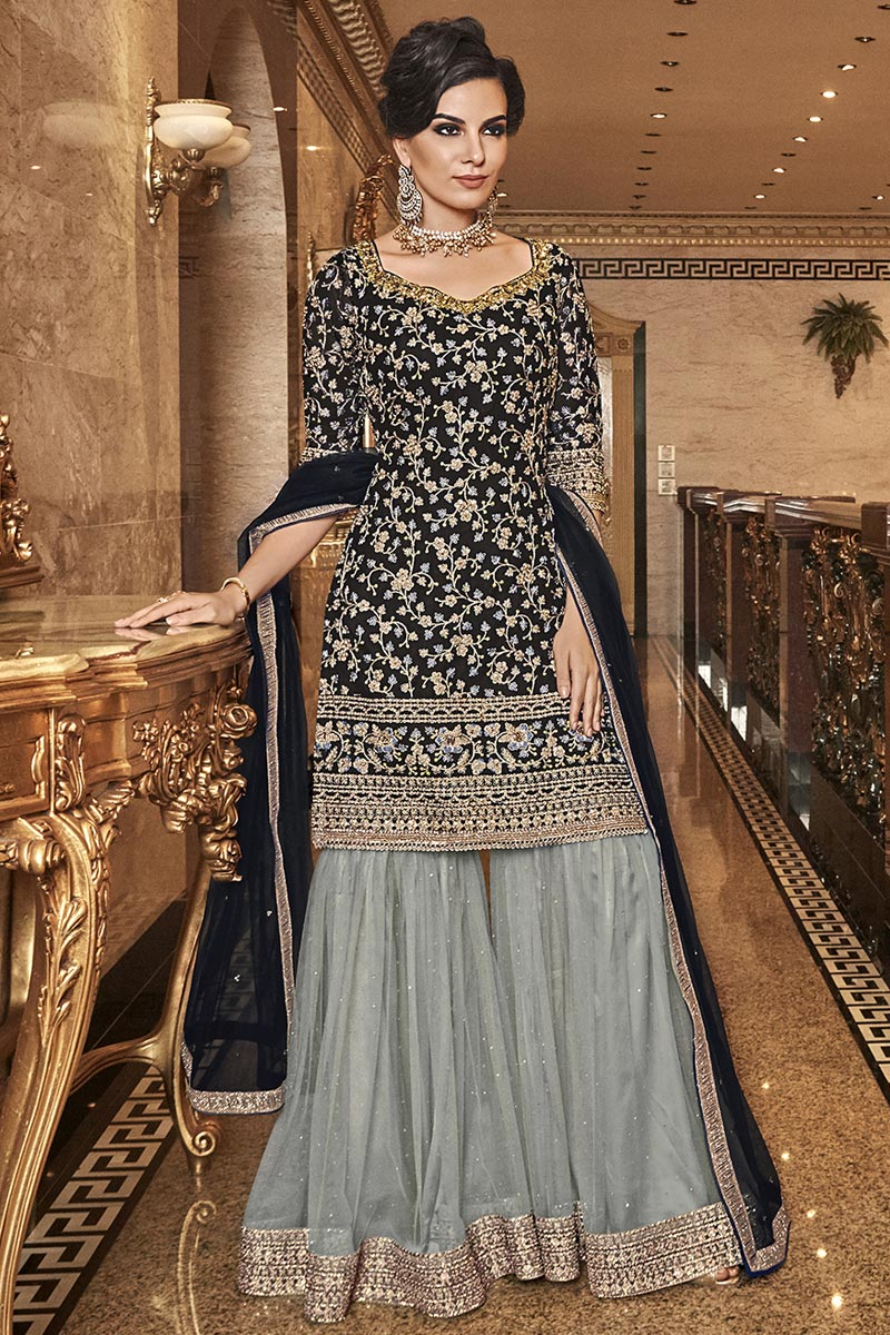 Elegant Party Wear Net Fabric Black Color Embroidered Palazzo Suit