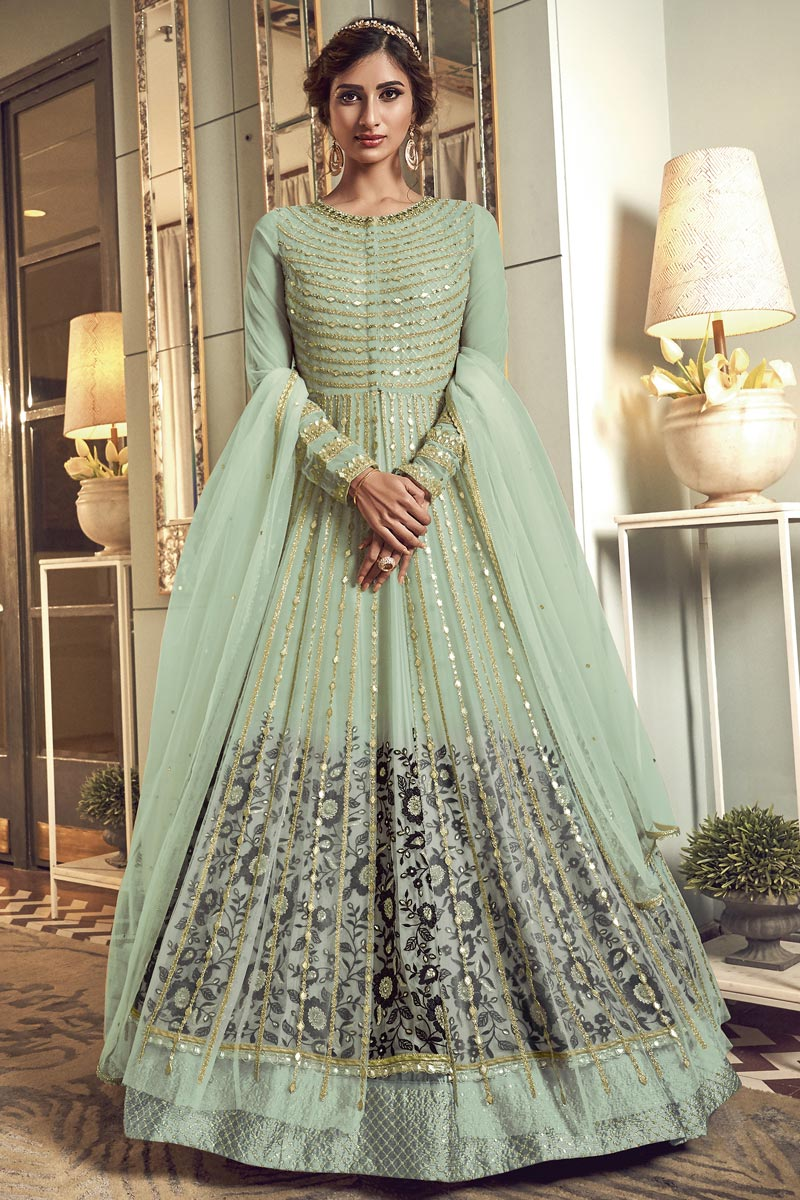 Occasion Wear Sea Green Color Embroidered Anarkali Salwar Kameez In Net Fabric