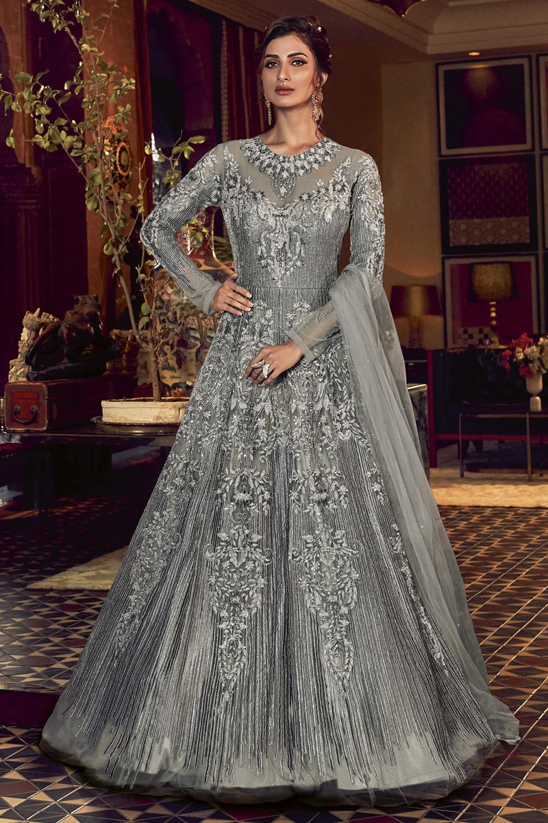 Embroidery Work Grey Color Net Fabric Anarkali Salwar Suit