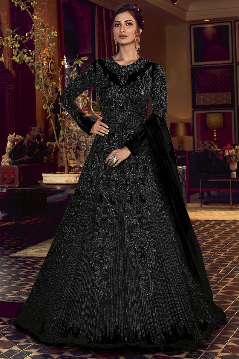Black Color Embroidered Net Fabric Party Wear Anarkali Salwar Kameez