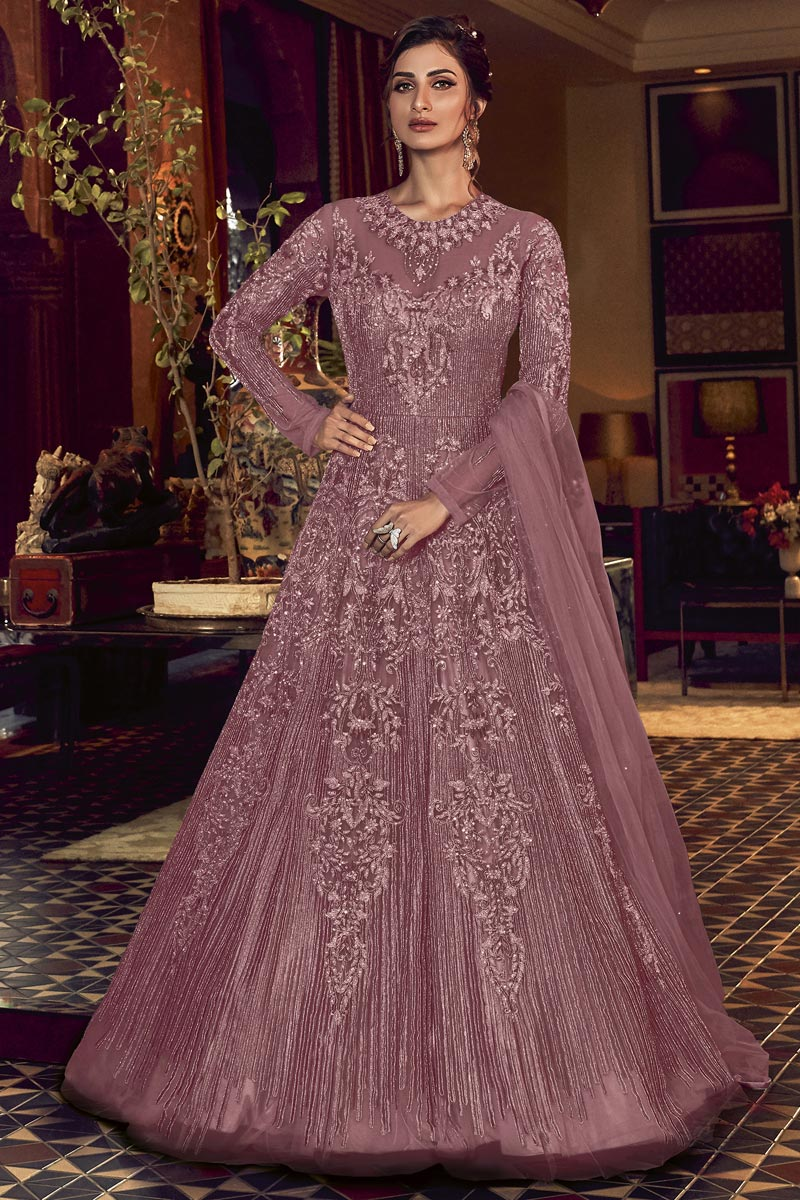 Embroidery Designs Pink Color Net Fabric Function Wear Anarkali Salwar Suit